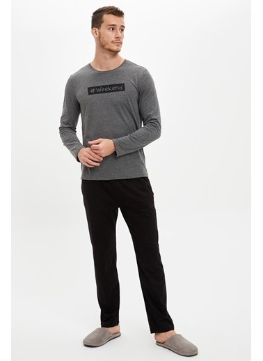 Defacto –Fit Pijama Alt ve Üst Takım Antrasit
